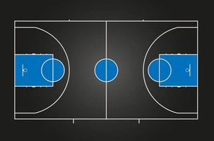 Basketball court. Black background with blue details. vector