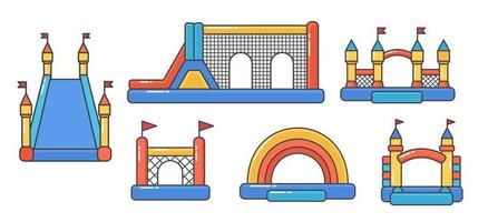 Set of bouncy inflatable castles. Tower and equipment for child vector