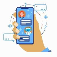 Chatbot concept. User chatting with robot chat bot mobile vector