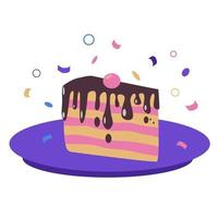 Piece of chocolate cake on a plate. Birthday tasty bake, vector
