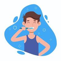 Young man brushing teeth in a bathroom. Oral hygiene, care vector