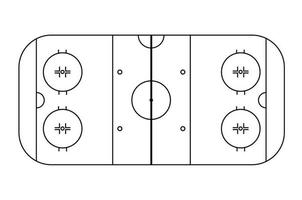 Ice hockey field scheme. View from above. Black and white vector