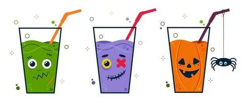 Halloween party cocktail set with scary cute character faces. Drink vector