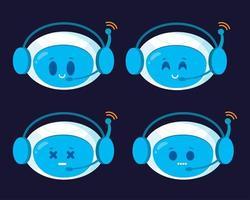 Chatbot icon set. Cute robots faces vector