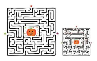 Square halloween maze labyrinth game for kids. Labyrinth logic vector