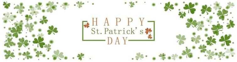 St. Patricks Day greeting card with frame of clover leaves vector
