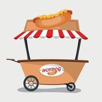 hot-dog seller in cart vector