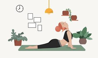 Young woman doing yoga. Flat style. vector