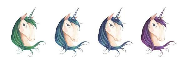 Set of unicorn head for children design. Watercolor illustration. vector