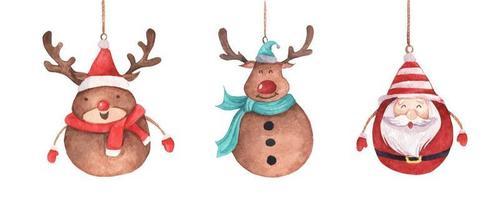 renos y santa claus colgando de una cuerda. acuarela tarjeta de navidad. vector
