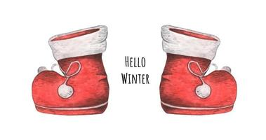 Red boots. Christmas decor, Watercolor illustration. vector