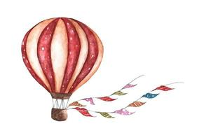 Vintage hot air balloon with flags garlands. Watercolor illustration. vector