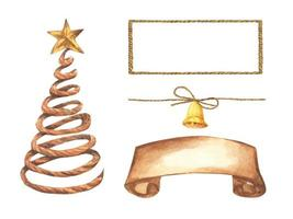 Set of Christmas decorations. Watercolor elements. vector