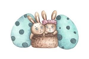 Rabbits in basket with Easter eggs. Watercolor illustration. vector
