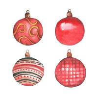 Set of Christmas toys in red with patterns. Watercolor Christmas card. vector