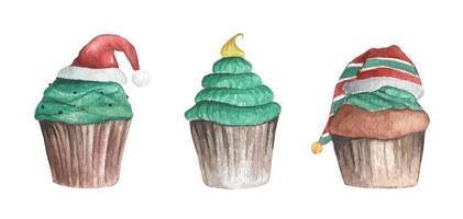 juego de cupcake de navidad. acuarela tarjeta de navidad. vector