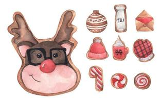 Set of gingerbread cute cookies. Watercolor Christmas card. vector