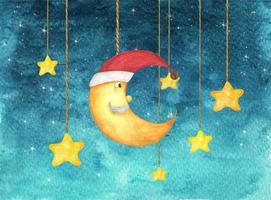 Half moon face and stars hanging from strings painted in watercolor. vector