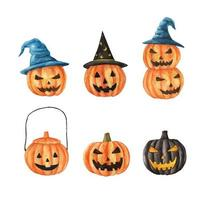Watercolor Halloween set. Carved faces pumpkins. vector