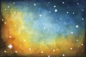 Night sky. Watercolor colorful starry space galaxy nebula background. vector