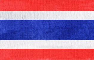 Watercolor flag of the Thailand. vector