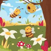 Cute Honey Bee Protection Concept vector