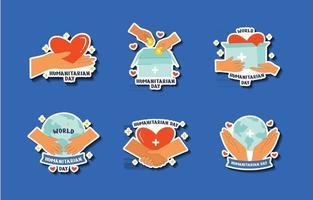 Hand Drawn World Humanitarian Day Sticker Set vector