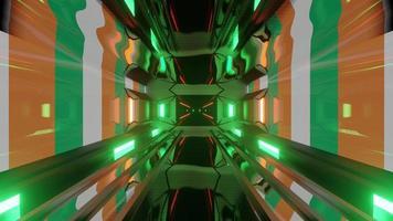 tunnel luminoso con bandiera irlandese ed effetti di luce video