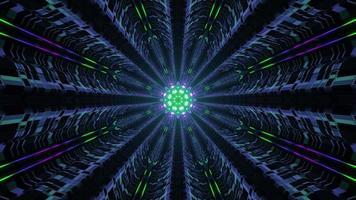 Multicolored Dark Neon Illuminating Tunnel video
