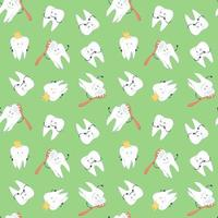 Seamless pattern with cute molars, vector