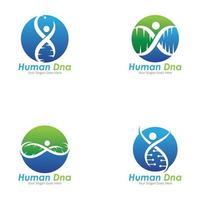 ADN humano y diseño de icono de vector genético