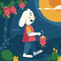Chinese Mid Autumn With Happy Bunny vector