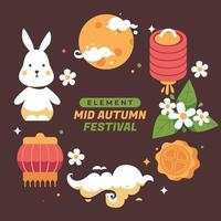 Chinese Mid Autumn Element Collection vector