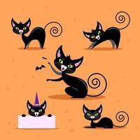 Cartoon Halloween Black Cat vector