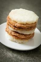 Homemade grilled pork with sticky rice burger photo