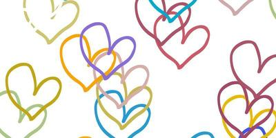 Light Blue, Yellow vector texture with lovely hearts.