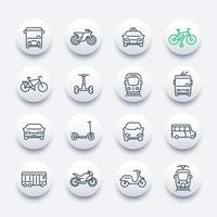 City transport line icons set, bus, taxi, train, bikes and scooters vector