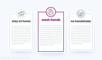 stop coronavirus banner with line icons, wash hands, stay at home vector