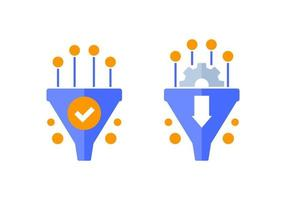 Conversion rate optimization icons with sales funnel vector