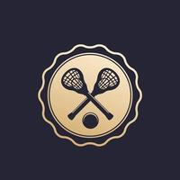 Lacrosse badge, emblem with sticks and ball vector