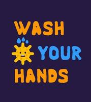 Wash your hands poster with virus, vector design