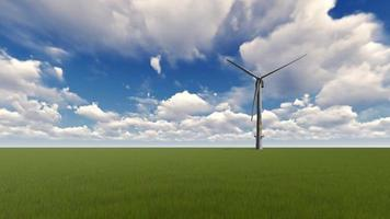 Wind Turbines on green grass and cloudy sky video