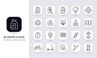 Line art incomplete sports and game icon pack. vector
