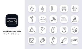 Line art incomplete construction and tools icon pack. vector