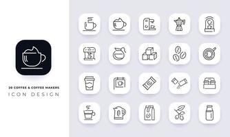 Line art incomplete coffee and coffee makers icon pack. vector