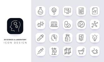 Line art incomplete science and laboratory icon pack. vector