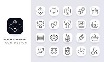 Line art incomplete baby and childhood icon pack. vector
