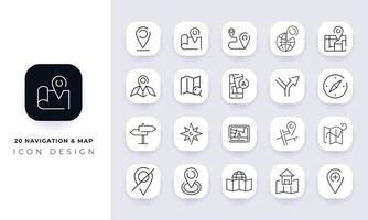 Line art incomplete navigation and map icon pack. vector