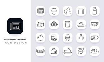 Line art incomplete  breakfast and morning icon pack. vector