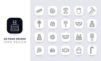 Line art incomplete food drinks icon pack. vector